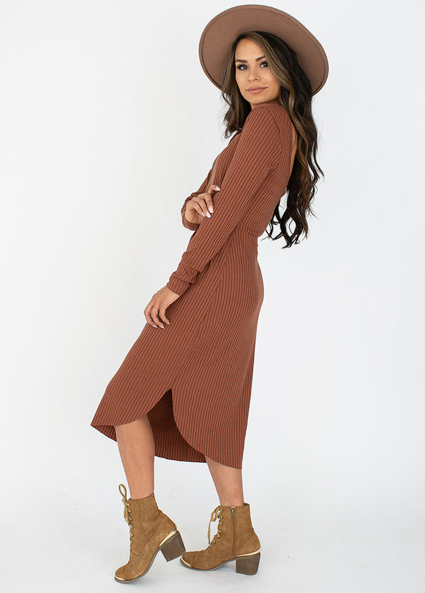 Alenka Dress in Brown Clay