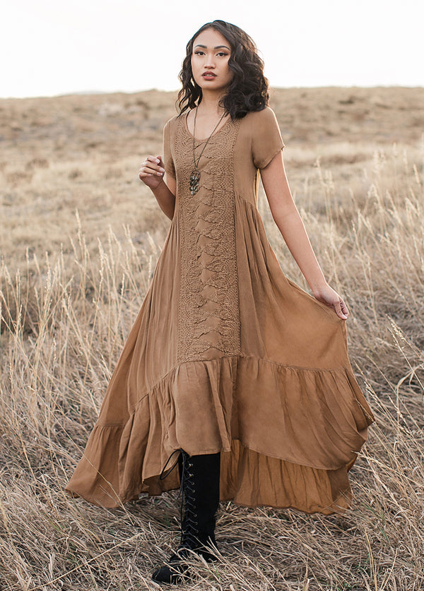 Allura Dress in Tobacco Brown