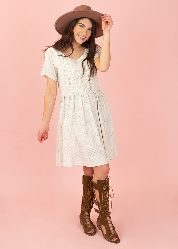 *NEW* Ally Dress in Ivory Pin Dot