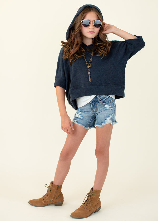 Andra Cropped Sweatshirt in Navy