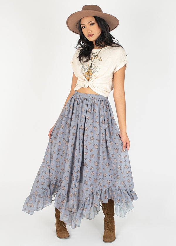 *NEW* Arely Skirt in Dusty Blue Caroline Floral