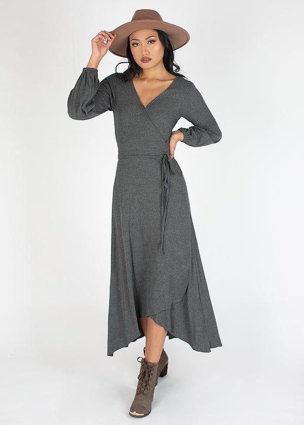 Amani Dress in Charcoal Heather