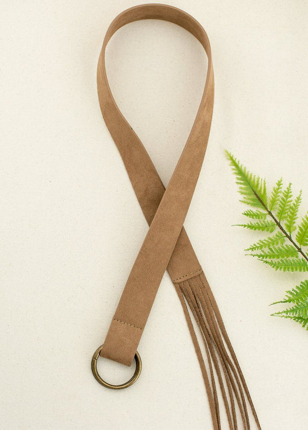 Leanna Fringe Belt in Brown