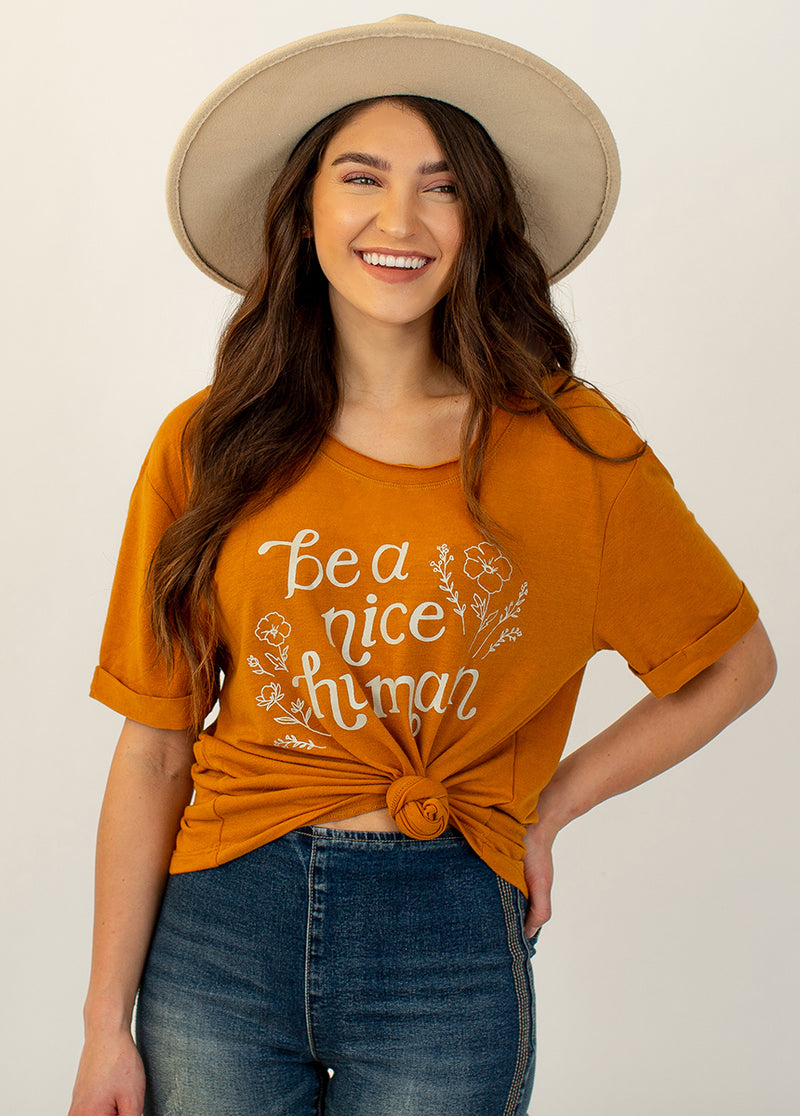 *NEW* Be a Nice Human Top in Ochre