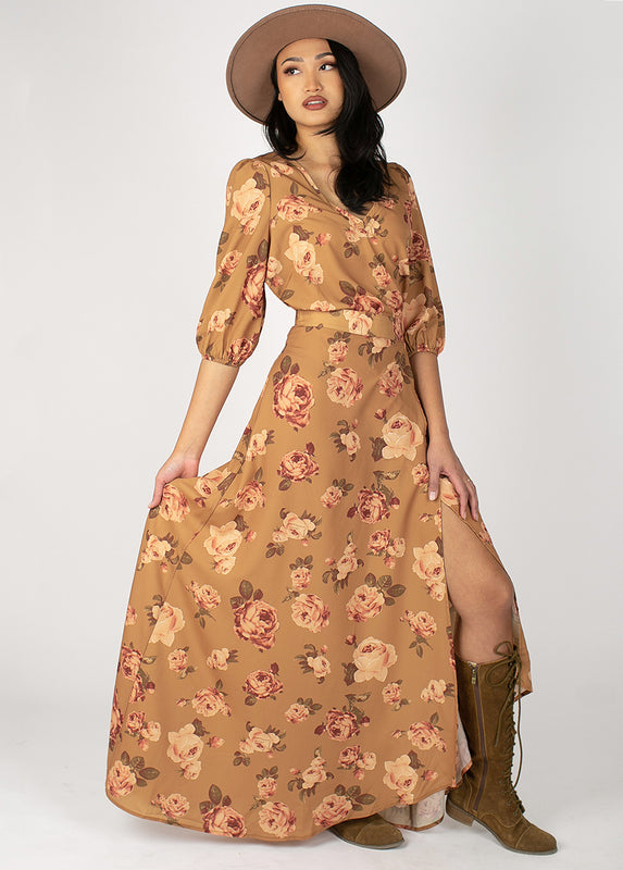 Bolance Skirt in Ochre Floral