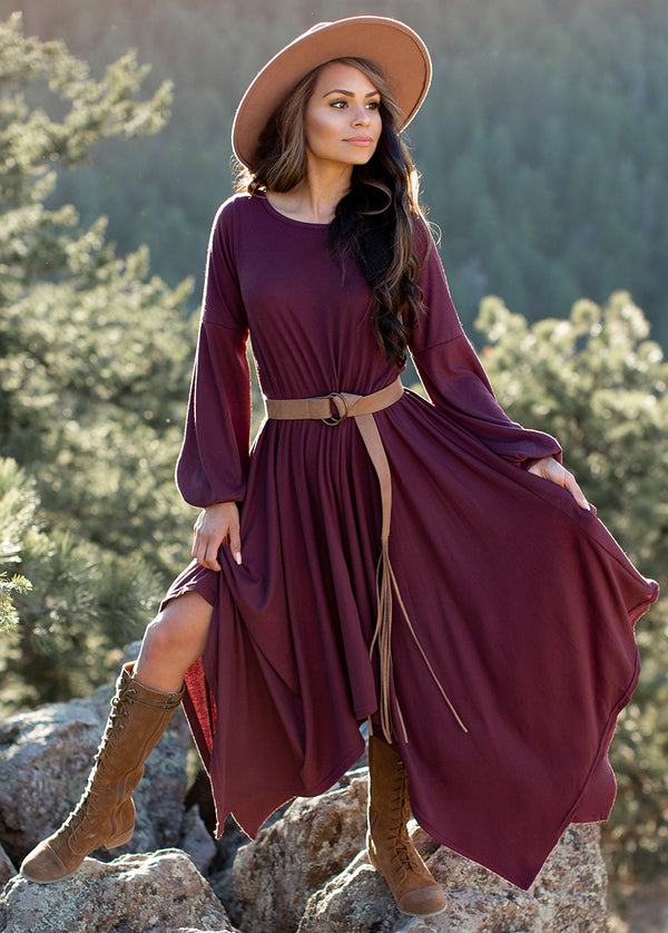 Capria Dress in Burgundy