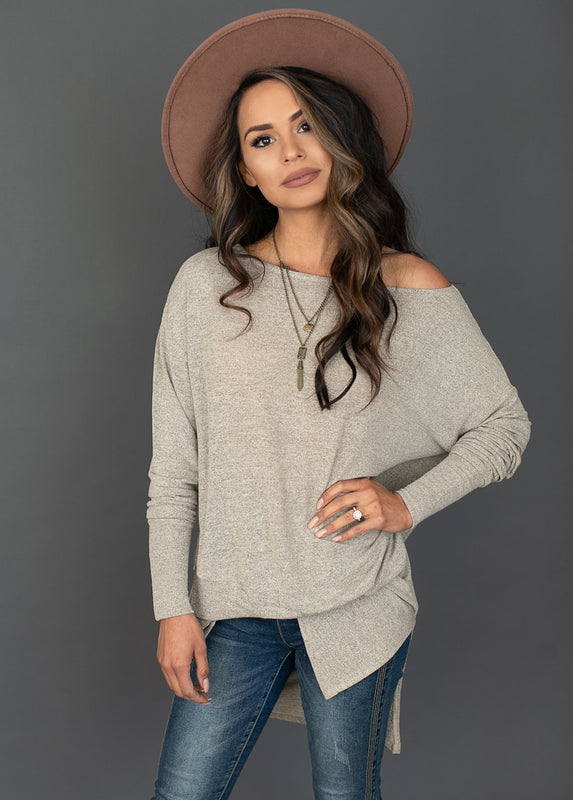 Louisa Top in Heather Taupe