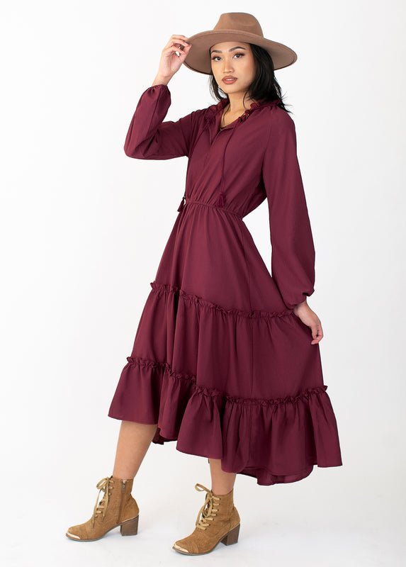 Shlee Dress in Washed Burgundy