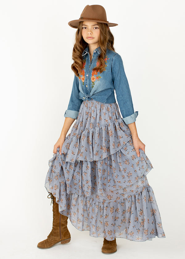 *NEW* Devi Skirt in Dusty Blue Floral