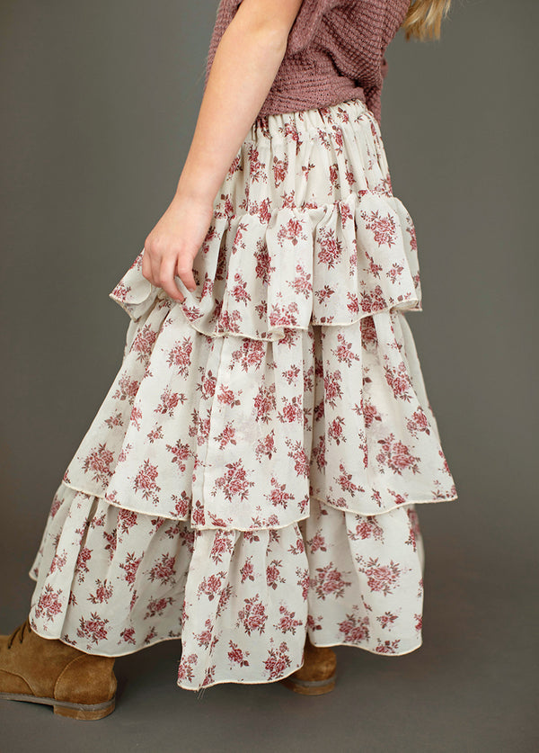 *NEW* Devi Skirt in Ecru Ditsy Floral