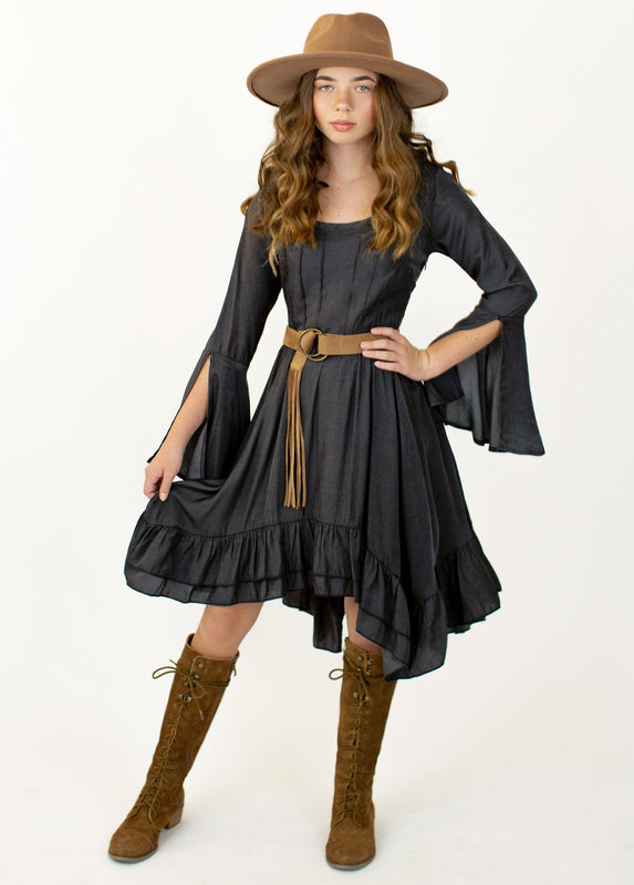 Timberly Dress in Washed Black