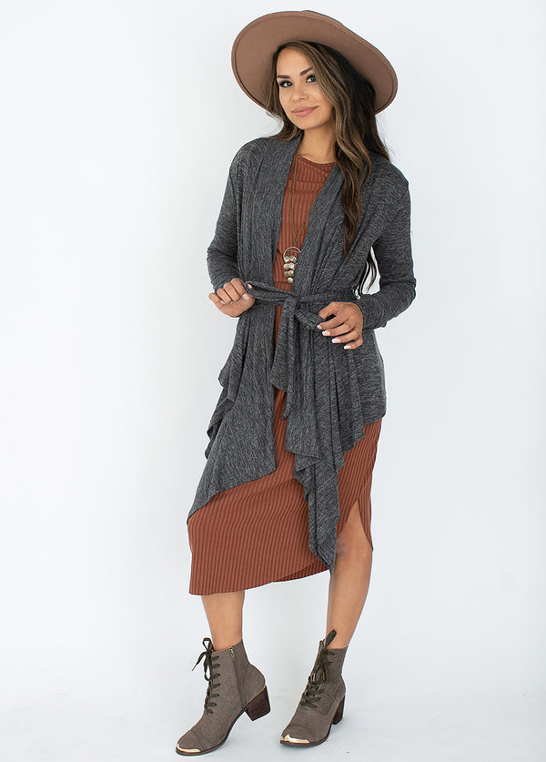 Evalyn Cardigan in Heather Charcoal