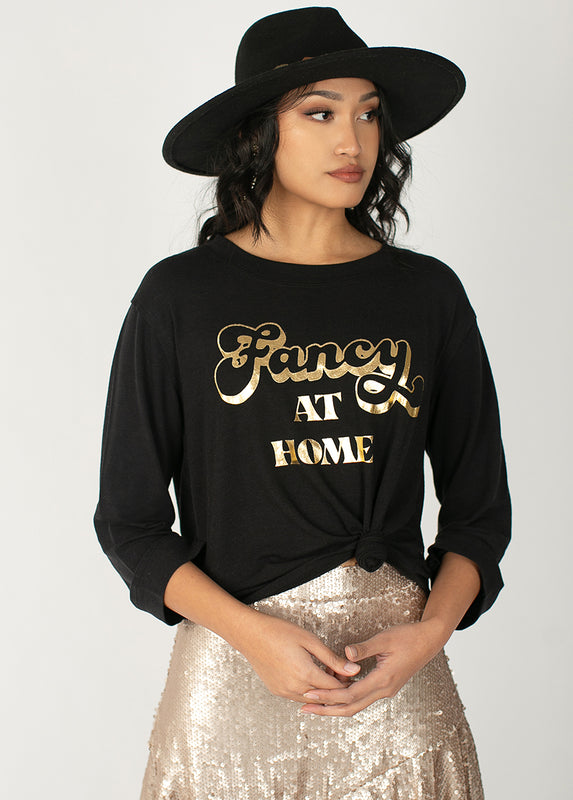 Women's Fancy at Home Top in Black