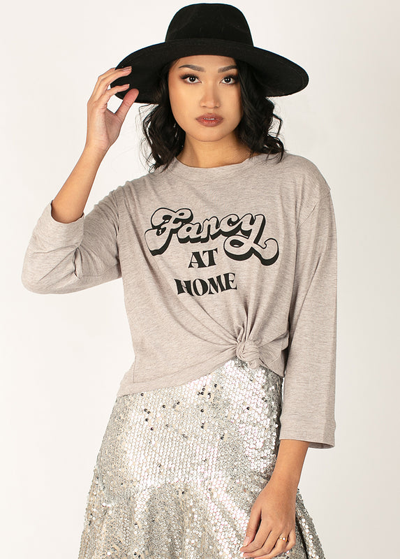 Women's Fancy at Home Top in Heather Taupe