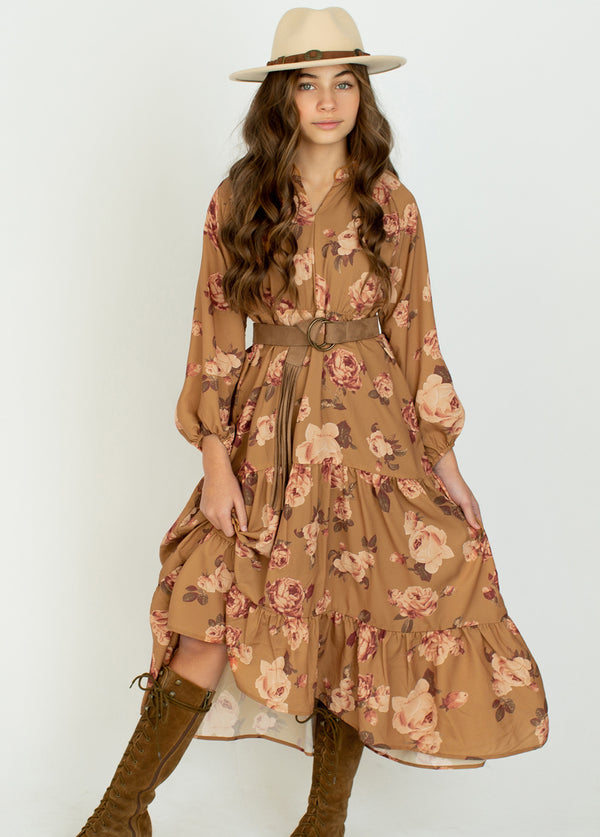 *NEW* Ashley Dress in Ochre Floral