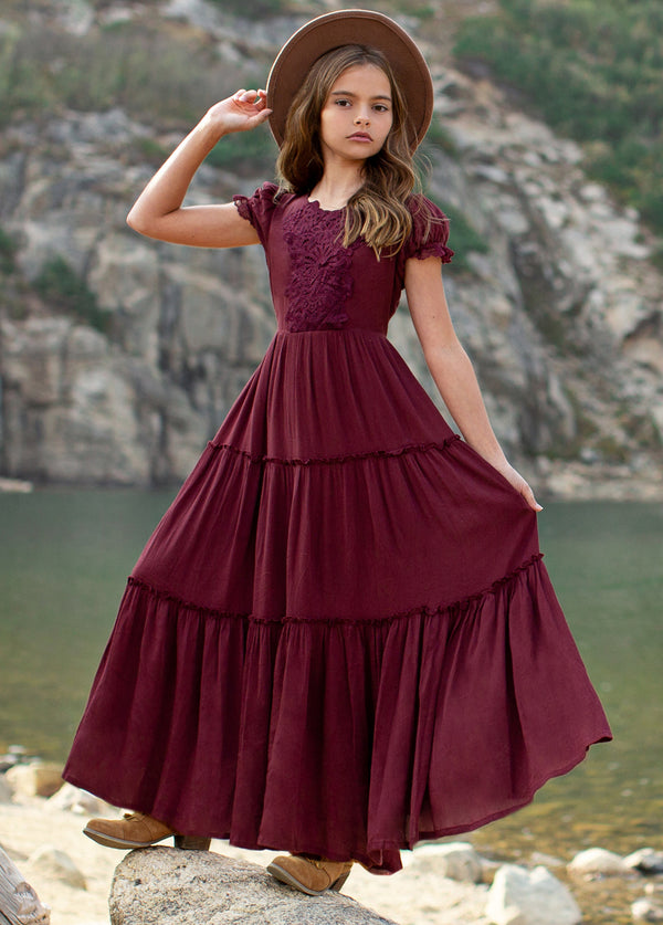 Flossie Dress in Burgundy