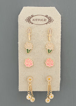 *NEW* Flowers of London Stud Set in Matte Gold