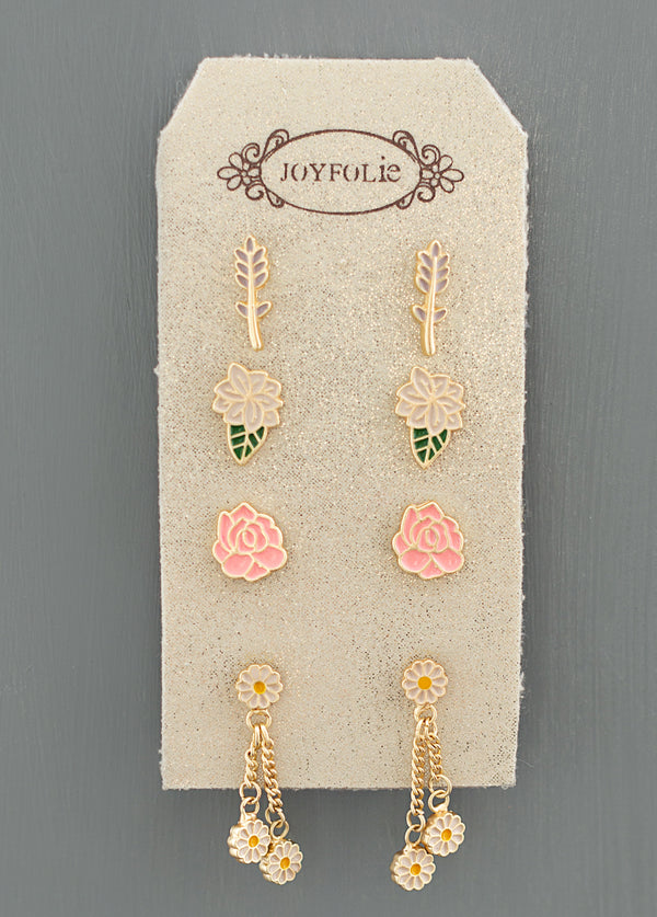 Flowers of London Stud Set in Matte Gold