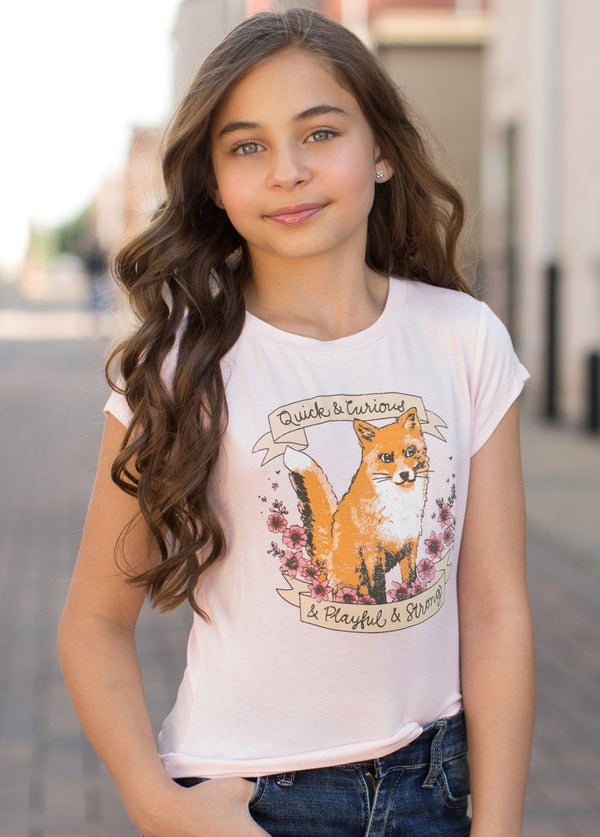 *NEW* Curious Fox Tee in Peony