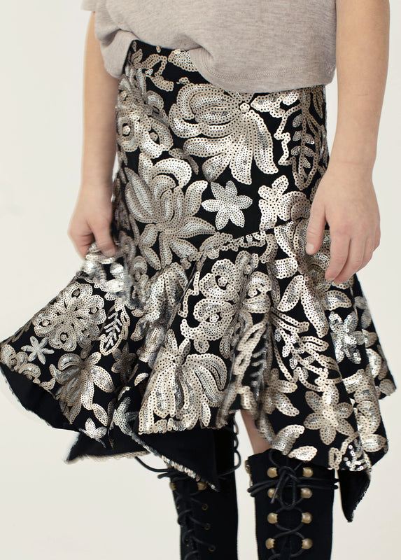 Kathy Skirt in Black Floral