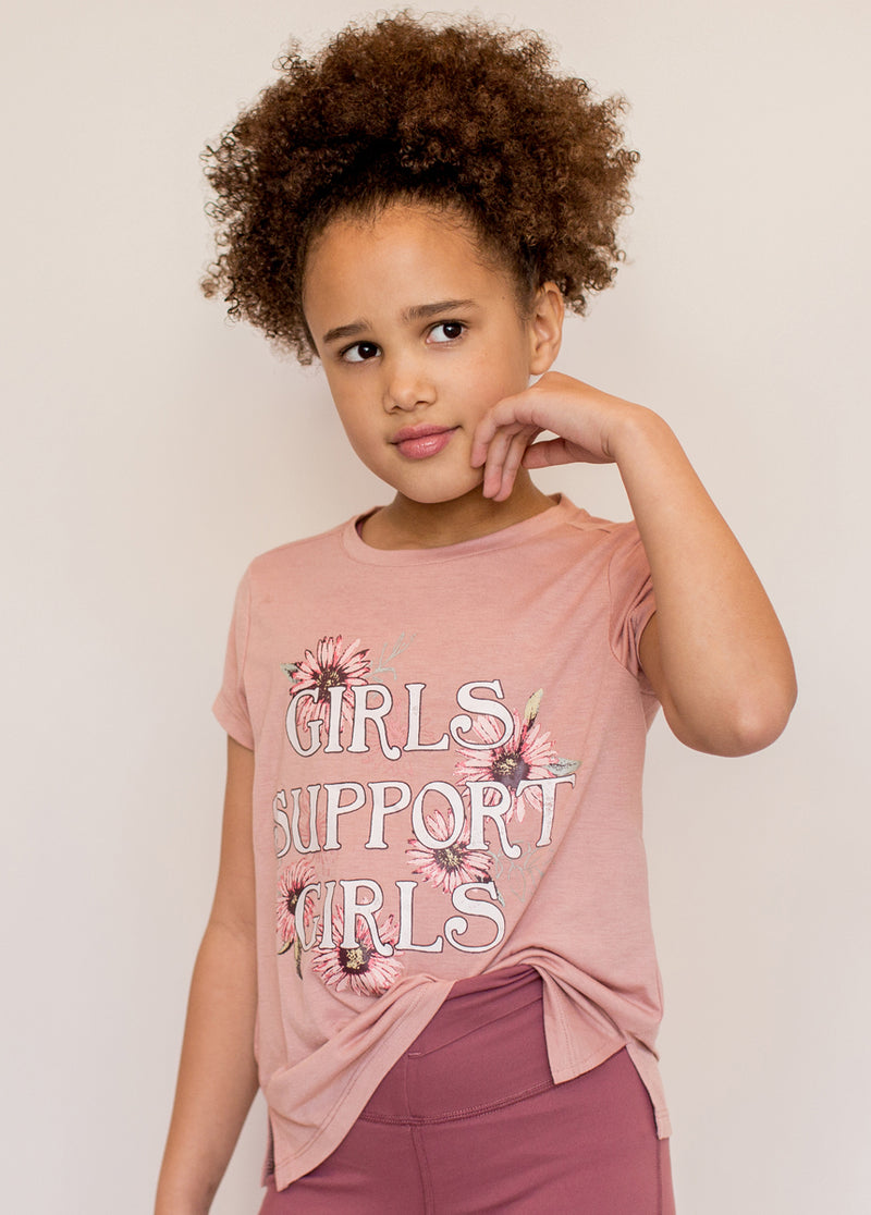 Girls Support Girls Graphic Tee in Ash Rose