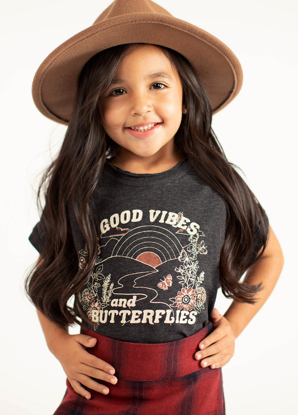 *NEW* Good Vibes Butterflies Top in Charcoal