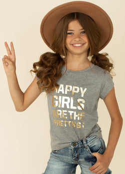 *Happy Girls' Tee in Gray*
