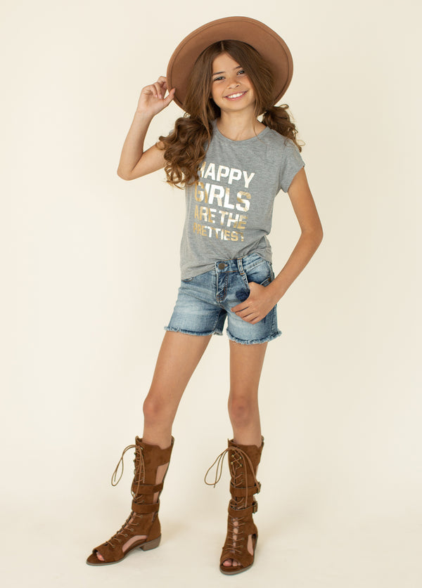 Happy Girls' Tee in Gray