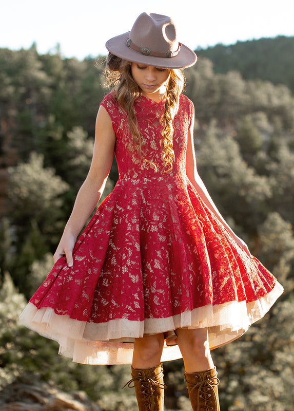 Hazel Dress in Scarlet Sage