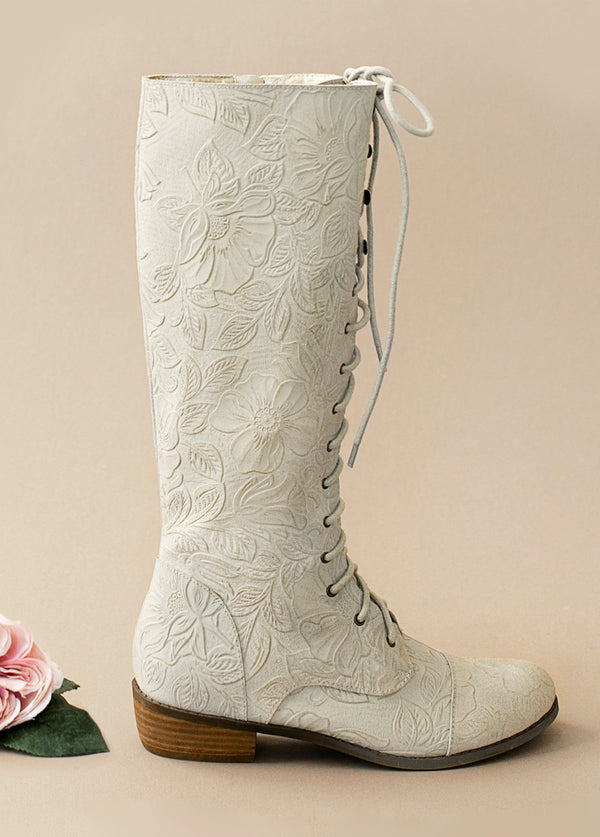 Indy Leather Carved Suede Lace-Up Boot in Ivory