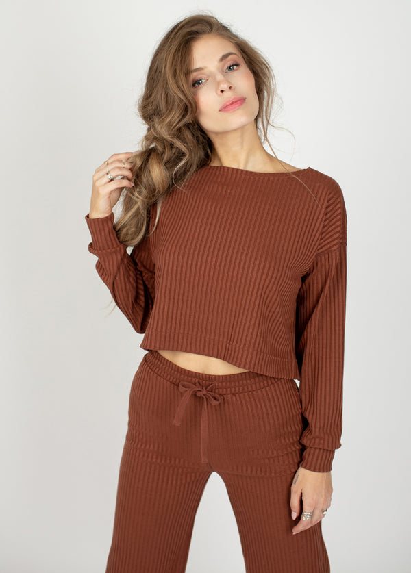 Iona Rib Lounge Set in Brown Clay