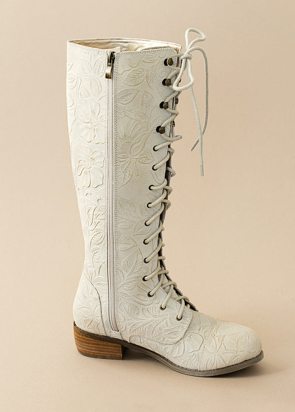*NEW* Irelyn Leather Carved Suede Lace-Up Boot in Ivory