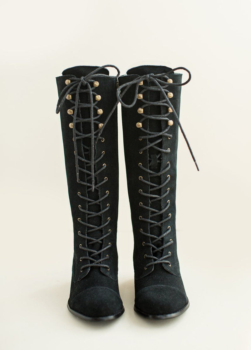 Irelyn Lace-Up Leather Boot in Black