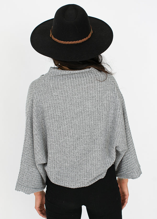 Jacquelyn Crop Top in Gray