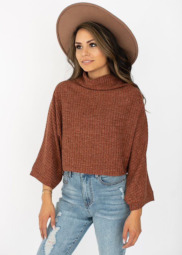 Jacquelyn Crop Top in Brick Red