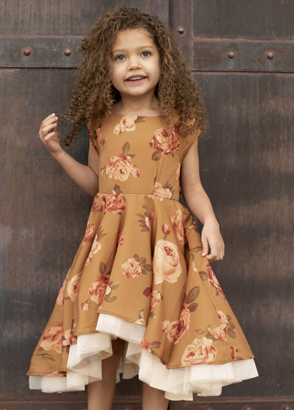 Malaya Dress in Ochre Floral