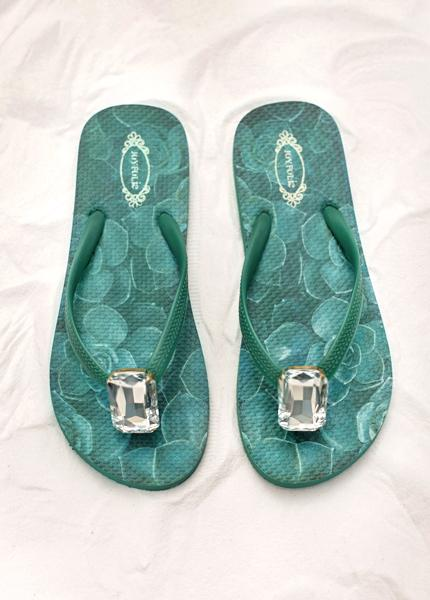Jewel Flip Flops in Jade