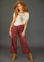 Kali High Waisted Pant in Burgundy