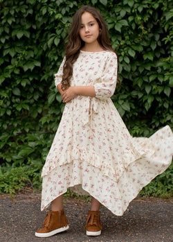 Karalee Midi Dress in Cream Floral