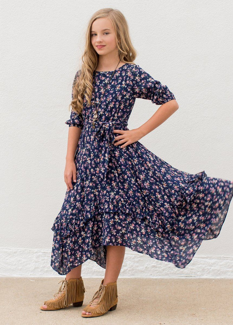 Karalee Midi Dress in Navy Floral