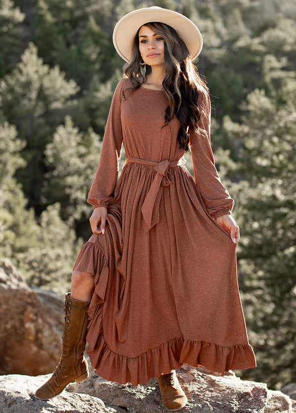 Kimani Dress in Heathered Cinnamon