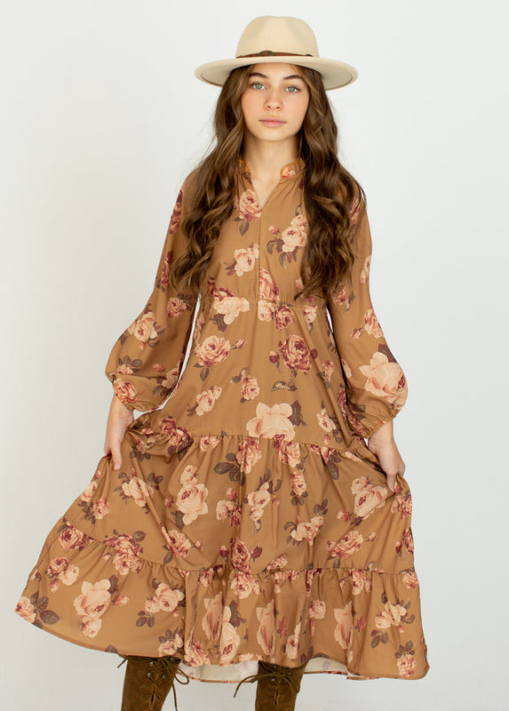 Ashley Dress in Ochre Floral