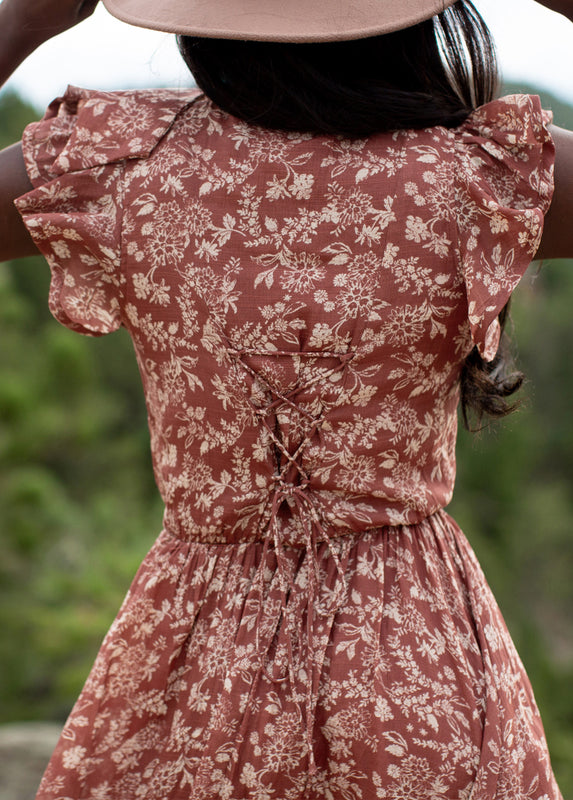 Lottie Dress in Brick Floral Print
