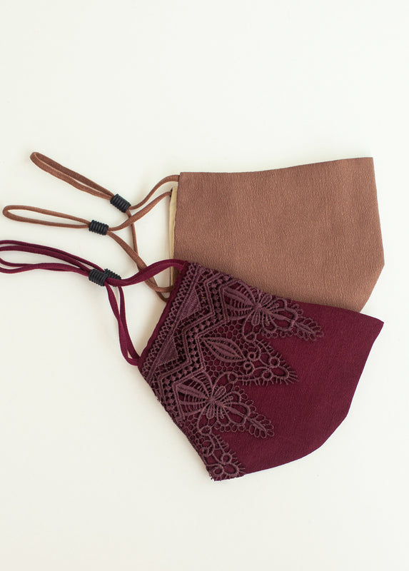 Arminda Mask Set in Burgundy & Dark Sand