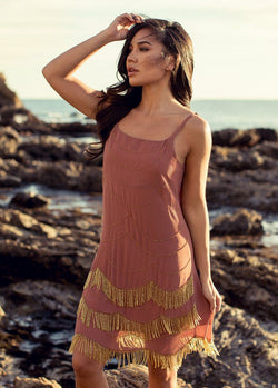 Madalyn Dress in Clay and Gold