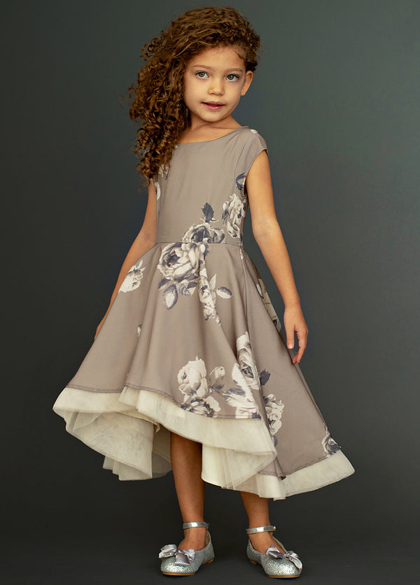 Malaya Dress in Neutral Floral