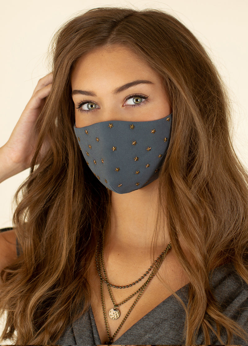 Women's Star Studded Mask in Charcoal