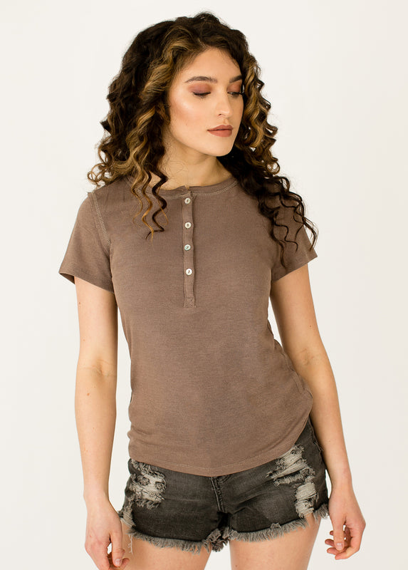 *NEW* Hannah Henley Top in Deep Taupe