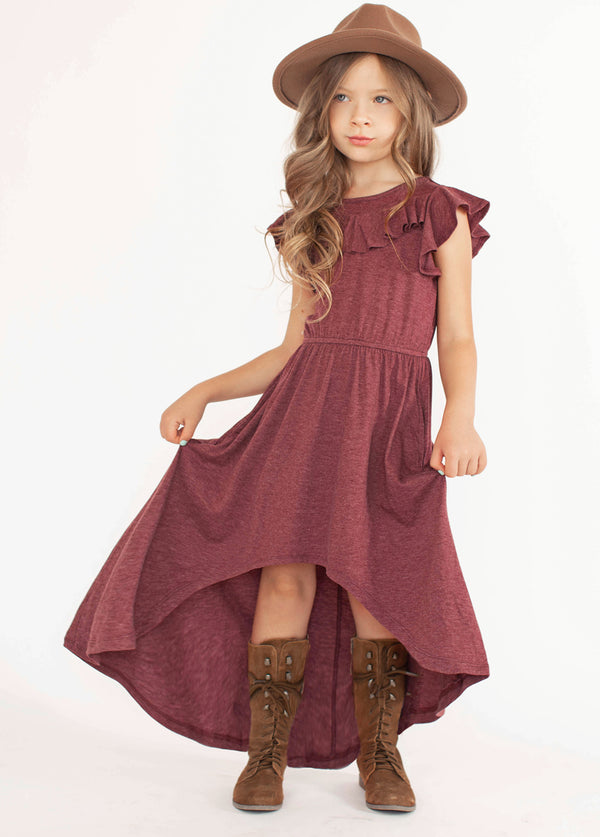 Nyla Dress in Heather Burgundy