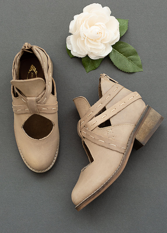 Oralie Leather Ankle Booties in Bone